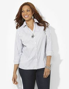 Crisp and clean, this striped buttonfront shirt is the perfect piece for your professional attire. Wrinkle-free fabric guarantees that you won't have to iron. Bust darts provide a better fit at the arms. Long sleeves with button cuffs complete your polished style. Finished with side slits at the hem. Catherines tops are perfectly proportioned for the plus size woman. catherines.com