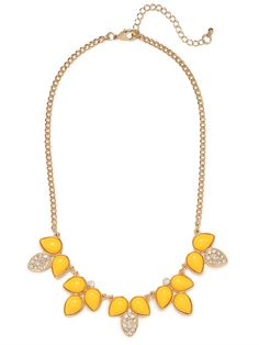 We love the punchy cabochon styling this necklace boasts.  The best part?  Pops of pave crystals that add a little bit of glamor to this oh-so-spring style.