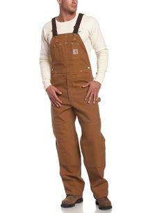Carhartt Men's Unlined Duck Bib Overall R01 Brown 46 x 32 | eBay