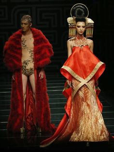 Beijing Fashion Week A models presents a creation from the Asahi Kasei Chinese Fashion Designer Creativity Award - Hei Lau collection during China Fashion Week in Beijing