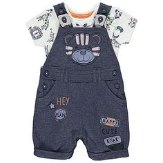 Outfitting your little one will be no fuss at all, with this terrific 2 piece set at the ready. The soft jersey-lined dungarees and pure cotton bodysuit ensu. Toddler Boy Outfits, Dresses Kids Girl, Toddler Boys, Kids Girls, Kids Outfits, Baby Dungarees, Boys Wear, Baby Bodysuit, Latest Fashion For Women