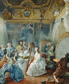 h) Gemälde, das das öffentliche Zeremoniell der Königin in ihrem Schlafzimmer zeigt
