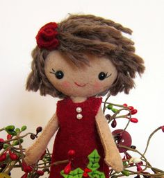 Cloth Doll Handmade All Natural Wool Christmas Dress by sewfaithful via etsy