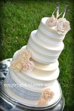 Buttercream with Ivory Fondant Stripes and Sugar Peonies