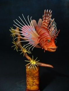 Spotfin Lionfish carving by Ron Bailey Carving, Ocean, Fish, Pets, Animals, Animals And Pets, Animales, Animaux, Wood Carvings