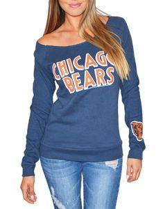 Chicago Bears Off Shoulder Womens Navy Sweatshirt Chicago Bears Women, Chicago Bears T Shirts, Chicago Football, Football Decor, Football Fashion, Bear T Shirt, Navy Women, Couple Shirts, Long Sleeve Tops