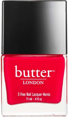 butter LONDON Nail Lacquer, Red Shades, Ladybird. Ladybird: opaque, tomato red creme. Flawless application brush shape designed for ease of grip. Dual locking cap technology keeps bottles sealed, even in your purse.