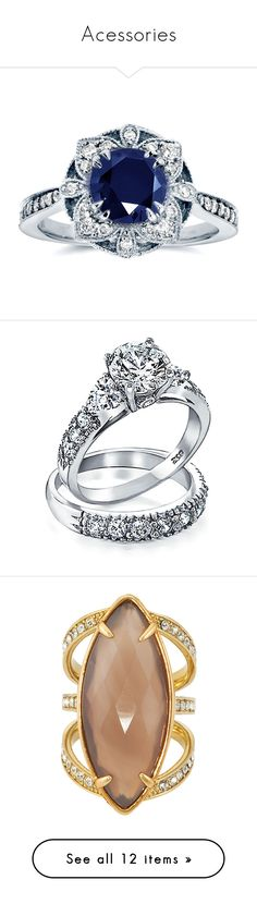 """""""Acessories"""" by richard-cmi ❤ liked on Polyvore featuring jewelry, rings, accessories, anel, sapphire diamond ring, floral engagement rings, 14k white gold ring, vintage diamond ring, white gold sapphire ring and clear"""