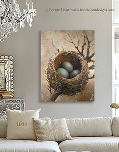 Three Bird Nest Print on Canvas--esty.com