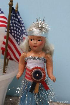 Vintage Fourth of July Doll Charming in Patriotic by MagpieEthel