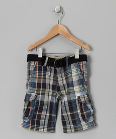 Take a look at this Petrol Plaid Kennedy Cargo Shorts - Toddler by UNIONBAY on #zulily today!