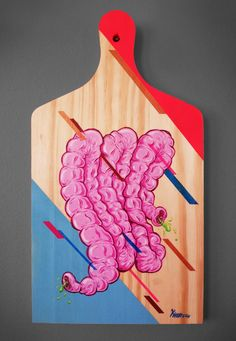 """""""Das tripas coração"""" - 21x40 - Técnica mista sobre madeira."""