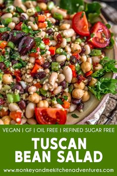 Tuscan Bean Salad – Monkey and Me Kitchen Adventures Healthy and utterly delicious, this easy to make Tuscan Bean Salad is filled with feel-good ingredients, aromatic herbs, and sure to make your belly happy. Healthy Salads, Healthy Eating, Healthy Herbs, Eating Vegan, Healthy Oils, Clean Eating, Vegetarian Recipes, Healthy Recipes, Bean Salad Recipes
