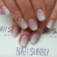 Pink to white umbre nails