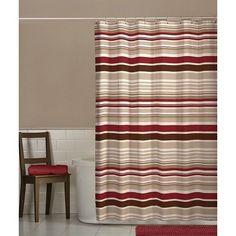 Stripe Shower Curtain Country Rustic Contemporary Bath Bathroom Fabric Red Brown #Maytex