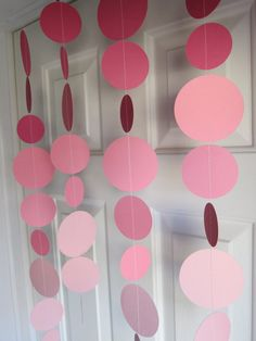 Pink Paper Garland Decorations - Baby Shower, birthdays, Princess Party, Bridal Shower, 1st Birthday, Minnie Mouse