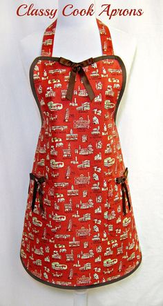 Apron ROME ITALY, Italian Collage of TOWER of PISA, Colosseum, Duomo & VATICAN, Pretty Party Hostess, Kitchen Gift, by ClassyCookAprons, $36.50