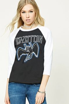 """A knit band tee featuring a """"Led Zeppelin"""" and angel graphic on the front, contrast long raglan sleeves, a round neckline, and a curved hem."""