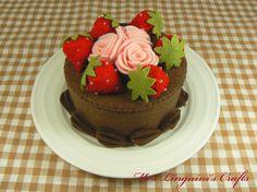 Felt Cake  Chocolate Cake with Roses & by MrsLinguiniCrafts, $35.00
