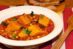 Moroccan Butternut Squash and Chickpea Stew - A deliciously  healthy and energy-boosting one-pot , rich in antioxidants and vitamin from the tomatoes and butternut squash and iron and fibre from the lentils and chickpeas.