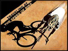"Retro styled stencil road cycling shadow print 11""X15"""