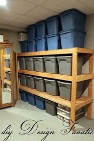 Tub storage in basement