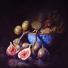 Gatya Kelly Fig Medina oil on linen Still life painting figs fig leaves blue and white japanese bowl Light Study, Oil Painting Techniques, Peacock Art, Palette Knife Painting, Still Life Art, Aesthetic Design, Byron Bay, Artist At Work, Be Still