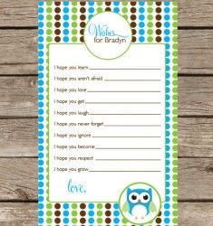 Favorite Like this item?  Add it to your favorites to revisit it later. Green, Blue and Chocolate Brown Owl Collection Baby Shower Game - Wishes for baby
