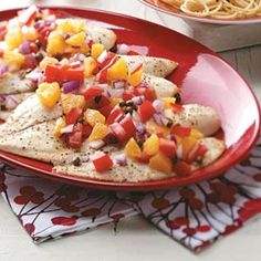 Tilapia with Tomato-Orange Relish Recipe -The mild flavor and tender texture of tilapia goes beautifully with this colorful, garden-fresh relish. It makes a big impression with little effort. —Helen Conwell, Portland, Oregon
