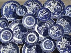 white vintage blue plate and