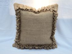 Items similar to French Farmhouse Burlap Pillow Cover Rustic Pillow Cover Neutral Pillow Cover Pillow Cover with Ruffles on Etsy Euro Pillow Covers, Neutral Pillows, Colorful Pillows, Euro Shams, Rustic Pillows, Burlap Pillows, Throw Pillows, Over The Top