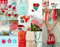 We are loving this mint and poppy red wedding palette! We think it is fun, vibrant and really unique.