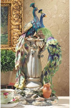 Design Toscano Peacocks in Paradise Home Decor Statue, 19 Inch, Full Color Peacock Decor, Peacock Colors, Peacock Art, Peacock Theme, Peacock Design, Peacock Mirror, Peacock Blue Bedroom, Bird Statues, Garden Statues