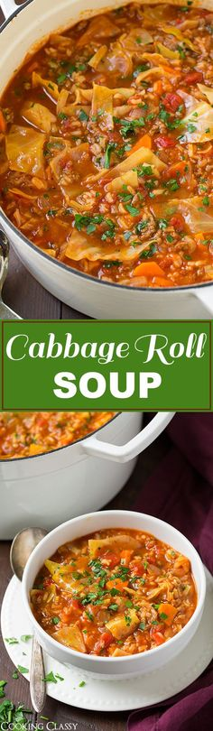 Cabbage Roll Soup - so much easier than stuffing cabbage rolls! This soup is so hearty and filling and totally delicious! Will definitely make this again this fall!: