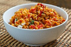 [Rice] ----- Roasted Red Pepper & Feta Rice:: 1 Tbs olive oil, 1 small chopped onion, 2 cloves chopped garlic, 2 sliced roasted red peppers, 1/2 tsp oregano, salt & pepper taste, 1 c long grained rice/brown, 2 1/2 c broth, 1/4 c crumbled feta. ---- 4 Servings