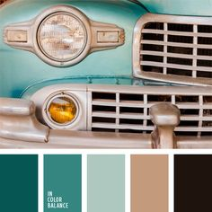 Farbpalette Nr. 141. Colour Combination: Dark Turqouise blue, turquoise blue, light blue-green, beige, black.