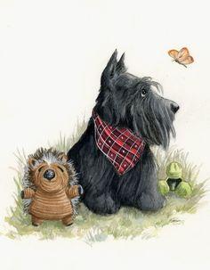 Dog Cards Handmade, Scottish Animals, Dog Comics, Pet Remembrance, Cute Animal Illustration, Dog Crafts, Terrier Dogs, Horse Art, Dog Art
