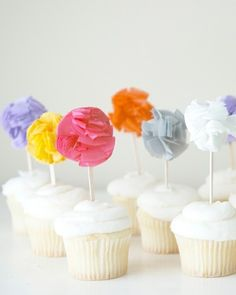 Set of 12 Pom cupcake toppers