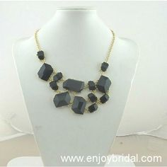Black Bubble Bib Statement Necklace,Holiday Party Necklace,Bridesmaid Gifts,Beaded Jewelry,Wedding Necklace  $16.00