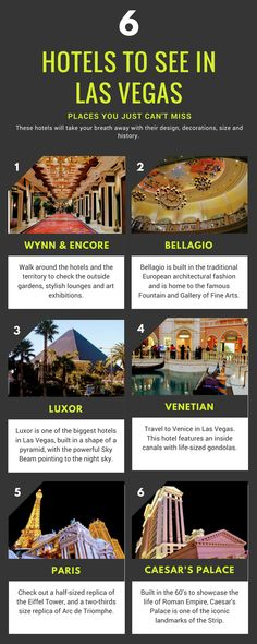 Las Vegas, USA might not offer any ancient historical sights, but its hotels are definitely worth visiting. In this guide I will tell you some curious facts about Wynn and Encore, Luxor, Venetian, Paris, Caesar's Palace and Bellagio. Those hotels are so much more than they seem. Las Vegas Strip | USA | US | Nevada | North America #lasvegas #vegas #lasvegasstrip #hotels #accommodation #hotel #usa #us #nevada #bellagio #encore #wynn #travelinspiration #travel #infographic #hotels #america