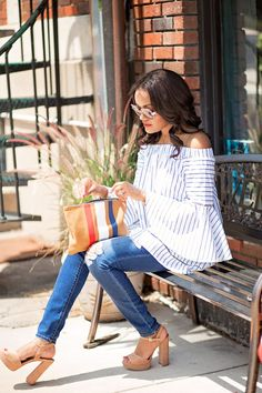 date night outfit, what to wear on date night, date night outfit inspiration, american eagle ripped jeans, steve madden kierra, platform sandals, off shoulder strip top, shin bell sleeve top, clare v supreme clutch, dallas blogger