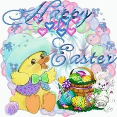 Happy Easter easter colorful basket eggs chick happy easter happy easter. easter pictures easter greeting