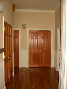 White trim oak doors