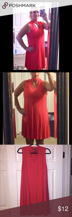 Women's Sleeveless Choker Dress NWOT Women's Sleeveless Choker Dress - stunning color!  Bright salmon - 95% Rayon and 5% Spandex material.  Very soft and comfortable.  Fit and Flare.  NWOT - comes from a smoke free home. TMG New York Dresses Midi
