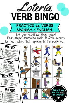 Spanish Verb Bingo and ESL ELL EFL Verb Bingo - Read simple sentences for students to identify the action verbs.