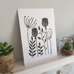 Wild flower lino print – print – botanical – seed heads – Famous Last Words Plant Illustration, Botanical Illustration, Lino Art, Linoleum Block Printing, Linoprint, Chalk Pastels, Linocut Prints, Abstract Sculpture, Botanical Prints