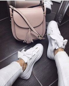 shoes white sneakers bow socks bag