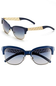 Love! Navy and gold cat-eye sunglasses.