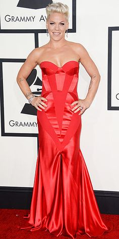 """I feel like a princess,"" Pink said of her red strapless Johanna Johnson dress. Fun fact: The singer said she's never worn the color red on the carpet before. http://www.peoplestylewatch.com/people/stylewatch/package/gallery/0,,20768375_20780084,00.html#30091068"
