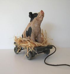 Vintage Wooden Pig pull toy Primitive Folk